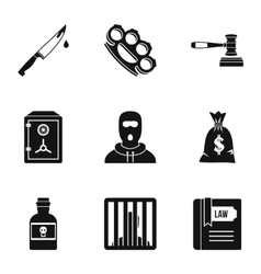 Illegal action icons set simple style vector