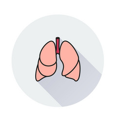 lungs - icon on round background vector image