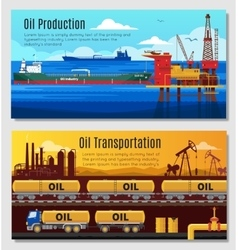 Oil industry horizontal banners vector