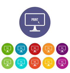 Print word on a computer monitor set icons vector