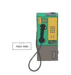 public phone hand draw sketch vector image vector image