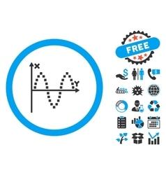 Sinusoid plot flat icon with bonus vector
