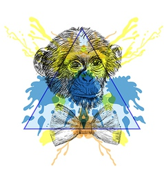 Sketch hipster monkey with bow tie in triangle vector