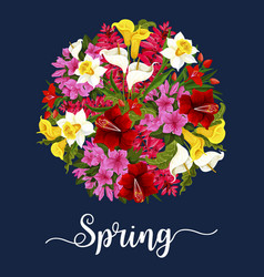 Spring flower greeting card with floral bouquet vector