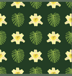 Tropical leaves summer green exotic seamless vector