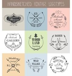 Vintage logotype setDoodle hand drawn sketchy vector image vector image