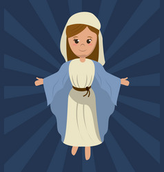 Virgin mary holy religious image vector