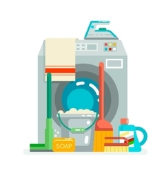 Washing cleaning concept supplies icons flat vector