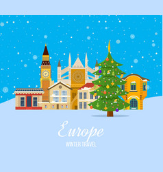 winter trip to europe atmosphere of new year vector image vector image