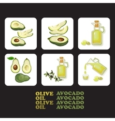 Set of avocado and olive icons vector