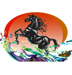 A horse in the sunset and waves vector