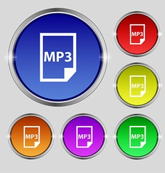 Mp3 icon sign round symbol on bright colourful vector