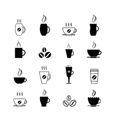 Simple coffee icon set isolated on white vector