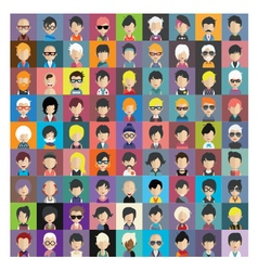 Set of people icons in flat style with faces 12 b vector