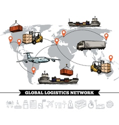 World logistic network template vector