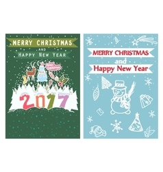 Happy new year merry christmas family holidays vector