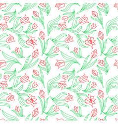 Color seamless floral pattern with tulips vector