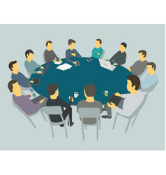 round big table talks team business people vector image