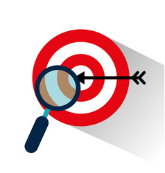 Target with magnifying glass vector