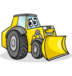 Bulldozer character cartoon vector