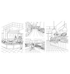 Supermarket interior hand drawn contour vector