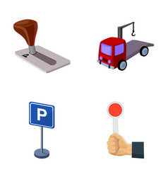 Transmission handle tow truck parking sign stop vector