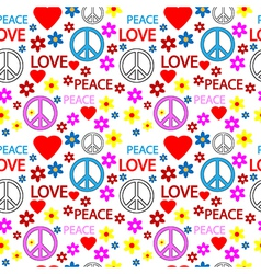Hippie seamless pattern vector image