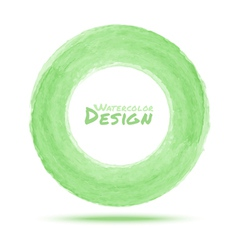 Hand drawn watercolor light green circle design el vector