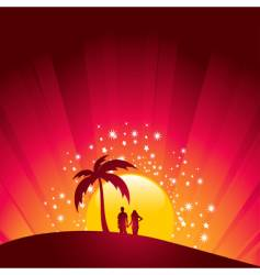 Tropical sunset couple vector