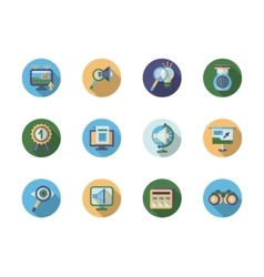 Search optimization flat color icons vector