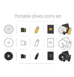 Portable drives icons set vector