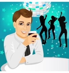 Businessman drinking wine at the party vector