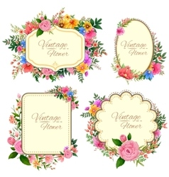 Watercolor vintage floral frame vector