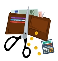 Scissors cutting purse with money vector image