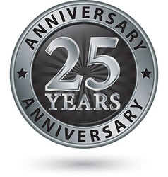 25 years anniversary silver label vector