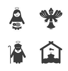 Set of flat icon black and white style holy family vector