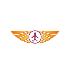 Logo airplane wings transportation travel holiday vector