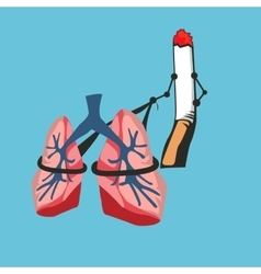 Smoke cigarette risk your lungs vector