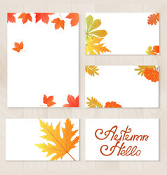 a set of cards with yellowed leaves berries of vector image