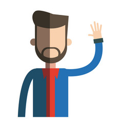 bearded man hand up hipster style design vector image