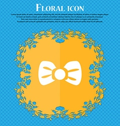 Bow tie icon sign floral flat design on a blue vector