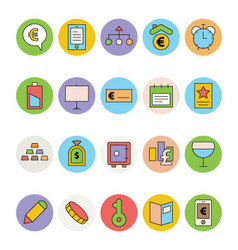 Business and Office Colored Icons 14 vector image vector image