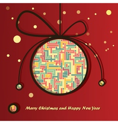 Christmas ball with abstract lines inside vector image