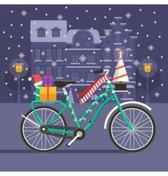 Christmas bike landscape vector