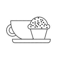 coffee cup and muffin breakfast food vector image