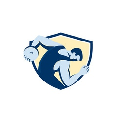 Discus thrower side shield retro vector