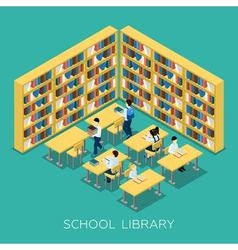 Education middle school library isometric banner vector
