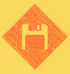 Floppy disk sign red scribble icon vector