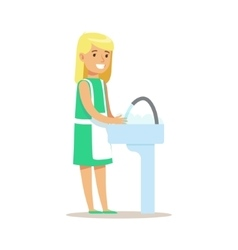 Girl washing dishes smiling cartoon kid character vector