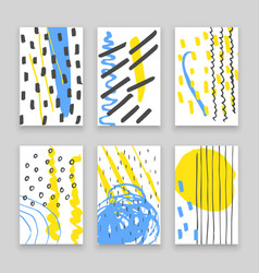 Hand drawn doodle cards with abstract ink patterns vector